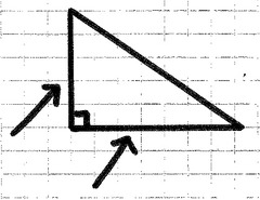Either of the two shortest sides of a right triangle, they meet at a common vertex to form a right angle.