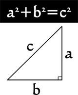The sum of the squares of the legs of a right triangle is equal to the square of the hypotenuse.