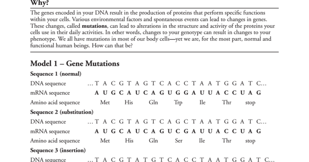Genetic Mutations Pogil Answer Key Quizzma