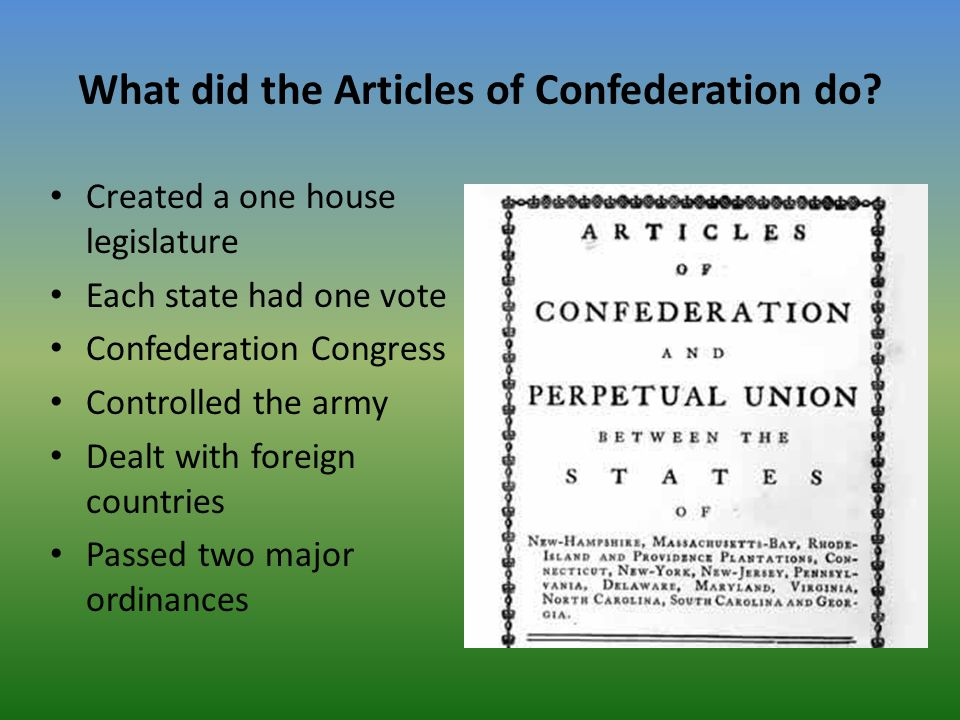 what did the articles of confederation do